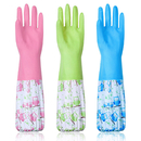 Opromo Rubber Cleaning Gloves, Waterproof Dishwashing Gloves Reusable Latex Kitchen Glove with Long Sleeve(No Contain Cotton)