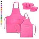 TOPTIE Cotton Canvas Painting Apron, Cooking Aprons and Chef Hat Set for Kids & Adult, S-XXL