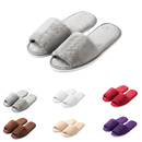 Opromo Men Women Cozy Plush Fleece Slip On Memory Foam Open Toe House Slippers