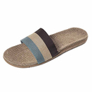 Opromo Unisex Striped Linen Skidproof House Slippers Open-toe Flax Slipper
