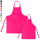 Opromo Colorful Cotton Canvas Kid's & Adult's Aprons with Pocket, Artist Apron & Chef Apron in Set (18 Colors, 5 Sizes)