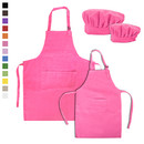 Opromo Painting Apron for Kids, Cooking Aprons and Chef Hat Set Cotton Canvas