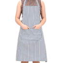 Opromo Chalk Stripe Bib Apron with Two Pockets, 31 1/2