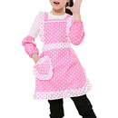 Opromo Kids Cotton Apron Dot Bow Frill Adjustable Apron with Pocket