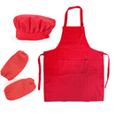 Opromo Cotton Canvas Adjustable Kitchen Apron, Chef Hat and Oversleeves Set