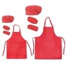 Opromo Cotton Canvas Kitchen Apron, Chef Hat and Oversleeves Family Set