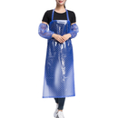 Opromo Transparent Waterproof Polka Dots Apron with Oversleeves, Vinyl Apron for Men and Women