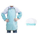 Opromo Blue Grid Kids Apron & Chef Hat & Sleeve Set for Art Painting, Cooking, Baking, Community Event,16
