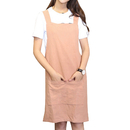 Opromo Soft and Lightweight Cotton Linen Apron with Pockets and Cross Back Straps, Female, 39.4 x 31.5 inches, H Neck