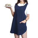 Opromo Soft and Lightweight Cotton Linen Apron with Pockets and Cross Back Straps, Female, 40 1/6 x 32 4/5 inches, U Neck