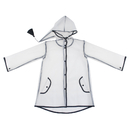 Opromo Raincoat for Kids Transparent Long Hooded Edge Clear Durable Poncho Rain Jacket Age 1-10 for Boys Girls