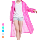 Opromo Portable EVA Raincoat Reusable Unisex Rain Poncho Hooded Drawstring