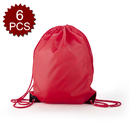 Opromo 6-Pack Waterproof Nylon Drawstring Backpack Gym Bags with PU Reinforced Corners for Storage Clothing Shoes