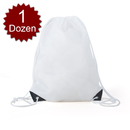 Opromo 12-Pack Waterproof Nylon Drawstring Backpack Gym Bags with PU Reinforced Corners for Storage Clothing Shoes