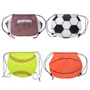 Opromo American Football/Basketball/Softball 210D Polyester Drawstring Backpack Cinch Bag