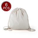 Opromo 5oz Cotton Drawstring Bag, 14-1/2 inch W x 16-1/2 inch H - 6 Pieces
