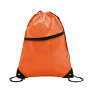 Opromo 210D Polyester Drawstring Backpack w/Front Zipper, 13