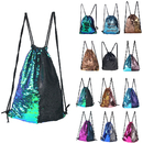 GOGO Mermaid Sequin Drawstring Bag Outdoor Sport Dance Bag, Girls Boys Women Men