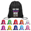 Custom 210D Poly Drawstring Backpack with PU Reinforced Corners, 13 3/8