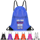 Personalized 210D Polyester Durable Drawstring Backpack Waterproof Bulk Cinch Bag, 15