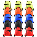 Muka 6PCS 210D Polyester Drawstring Backpack with Front Zipper and Headphone Hole for Gym, School, Sports