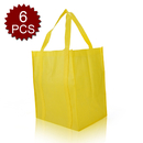 (Price/6 PCS) Aspire Large Reusable Reinforced Handle Grocery Tote Bag with Removable PVC Board Bottom, 13