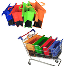 Opromo Set of 4 Supermarket Shopping Cart Bags Trolley Bags with Handles, Foldable and Reusable