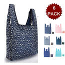 Opromo 6 PACK Foldable Reusable Grocery Bags Shopping Tote Bag (210D Polyester,6 Colors)