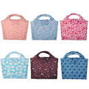(Price/6PCS) Opromo Lightweight Extra Large Foldable Reusable Grocery Bags, Folding Shopping Bags Fit in Pocket, 6 Patterns, 23 1/5