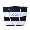 Custom Ladies Striped Canvas Shoulder Zipper Tote Bag for Daily, Shopper, Travel, Beach, 17 5/7