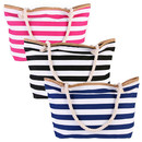 Opromo Extra Large Canvas Beach Bag, Shoulder Zipper Beach Tote Bag with Cotton Rope Handles, 23 5/8