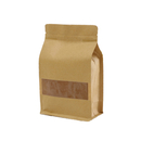 (Price/50 PCS) Aspire Natural Kraft Quad Seal Bags, Frosted Window Side Gusset Bags w/ Notch and Zip (8 oz to 2 lb)