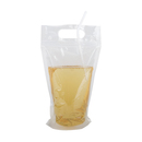 (Price/100 PCS) Aspire 16oz Clear Reclosable Zipper Stand-up Drink Bag w/Handle, FDA Compliant