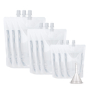 (Price/ 50 PCS) Aspire Transparent Spouted Stand Up Pouch, Clear Drink Bags ( 1.75 oz to 17 oz ), 8.2 mm Spout, FDA Compliant, BPA Free