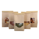 (Price/50 PCS) 8OZ / 16OZ Waxed Kraft Tin Tie Bags, Window Bakery Bags
