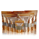 (Price/100 PCS) Heavy Duty Matte Gold Foil Zip Stand Up Pouch Bags w/ Notch and Frosted Window, (1 OZ to 16 OZ), 3 mil