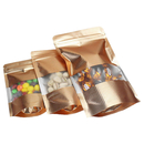 (Price/100 PCS) Heavy Duty Matte Gold Foil Stand Up Pouch with Ziplock and Frosted Window, (1 OZ to 16 OZ), 3 mil