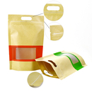 (Price/100 PCS) 8 OZ Kraft Frosted Window Waterproof Stand up Pouch w/Handle and Ziplock, 4 mil