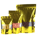 100 PCS Glossy Gold AL Back Ziplock Stand Up Pouch with Clear Window, 2 OZ to 1.5 LB