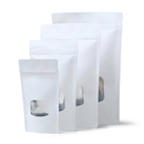 50 PCS Aspire Kraft Paper Stand Up Zip Pouch with Clear Window, 6 mil, FDA Compliant