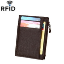 Opromo Genuine Leather RFID Blocking Front Pocket Wallet With Zipper Card Sleeve