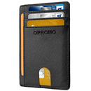 OPROMO Men's RFID Blocking Credit Card Holder Front Pocket in Black Leather Wallet Sleeves ID Window (1 PC)