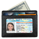 OPROMO RFID Blocking Credit Card Holder Front Pocket in Black Leather Wallet Sleeves ID Window for Men & Women (1 PC)