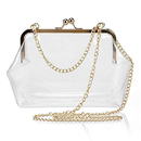 Opromo Transparent PVC Kiss Lock Chain Cross Body Bag Womens Clutch Clear Purse
