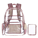 Opromo Clear Backpack with Cosmetic Bag, Transparent PVC School Bookbag Daypack