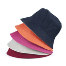 (Price/6pcs) Opromo Reversible Cotton Bucket Hat Summer Outdoor Fishing Hat