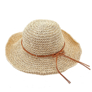 Opromo Women's Wide Brim Caps Foldable Hollow Straw Hat Summer Beach Sun Hats