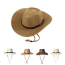 Opromo Unisex Straw Cowboy Hats Cool Western Style Summer Beach Sun Caps
