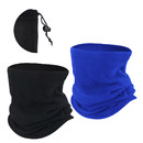 Opromo 2 Pack Fleece Neck Gaiter with Drawstring,Adjustable Face Mask Gaiter for Men Women Youth