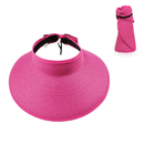 Opromo Children Girls Beach Sun Visor  Foldable Roll up Wide Brim Straw Hat Cap